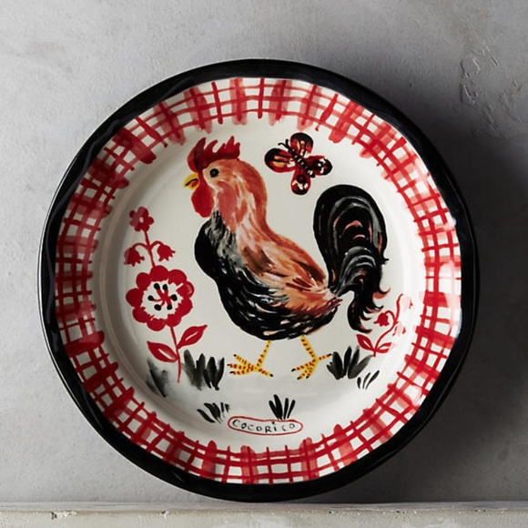 NEW Anthropologie Rooster Francophile Dinner Plate & 50% off Anthropologie Other - NEW Anthropologie Rooster ...